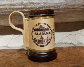 Vintage Beer Mug- Gift for Him- Alabama Souvenir- Glass/Wooden Handle- USS Alabama/Montgomery- US State Collectibles- Beer Stein- Beer Gift