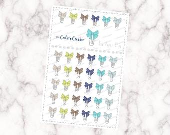 Bow Paper Clip Stickers - Cools & Neutrals