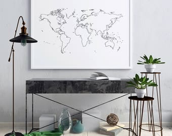 World outline etsy outline world map outline white world map wall decor world map white minimalist gumiabroncs Choice Image