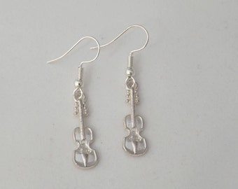 Violin and cello earrings, musical instrument earring, gift for her, stocking filler, sterling silver earring, music student or teacher gift