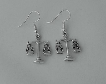 Scales of justice earrings, legal earrings gift, solicitor earrings gift, attorney lawyer earrings gift, libra scales star sign earrings
