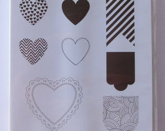 Hearts A Flutter, Stampin up Stamp Set,  8 Different Unmounted Stamps, Retired Set, Unused