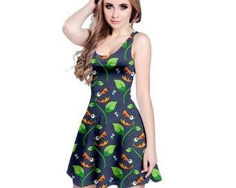 Carnivorous Plant Dress - Skater Dress Venus FlyTrap Dress  Audrey Dress Plus Size Dress Insectivorous Plant Dress Cartoon Dress