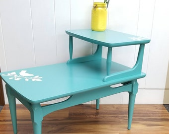 Refinished End Table, Teal With Birds, Side Table, Local Pickup Only