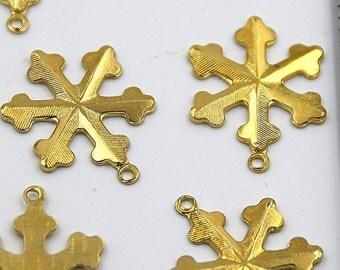 Snowflakes, Winter Snowflakes, Gold Snowflakes, Holiday Snowflakes, Gold Snowflake Charms, 6 pieces