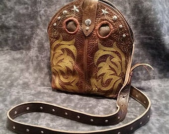 Reclaimed Cowboy Boot Purse/ Cowboy Boot Purse/ Leather Crossbody Purse/ Repurposed Cowboy Boot