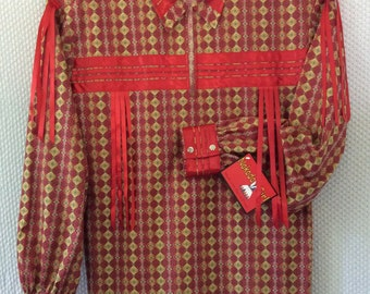 Native American Regalia*Nakoda Made*Traditional RED Calico Pow Wow Ribbon Shirt©