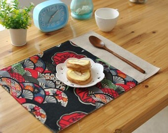 Set of 2 Premium Japanese Dinning Table Linen Placemats - Red