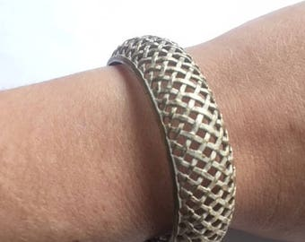 Vintage Lattice White Gold Bracelet