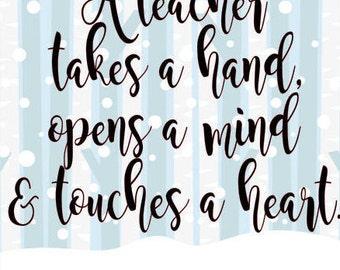 Teacher takes hand opens mind svg cut file