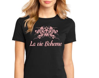"Ladies Perfect Weight Crew Tee 100% Ring Spun Cotton ""La vie Boheme"" a RealLifeOutfits original design"