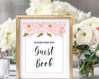 Please Sign Our Guestbook Sign, Printable Wedding Guestbook, Wedding Guestbook Sign, Blush Peonies, Watercolor Floral, Silver Glitter #SG002