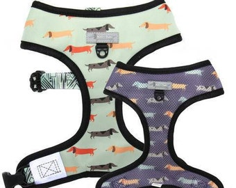 REVERSIBLE DOG HARNESS  - dachshund harness doxie sausage dog print, 2-in-1 doxie harness, dog clothes, puppy clothes, wiener dog harness