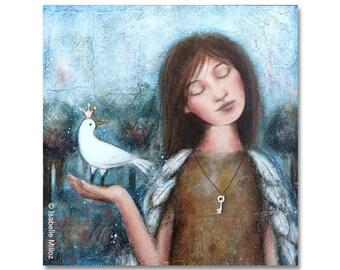"""Peinture """"Aussi libre que toi"""" jeune fille avec des plumes / oiseau couronné / clef d'or / boho"""