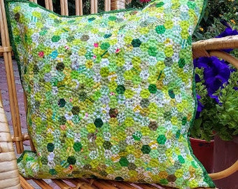 Unique Green Patchwork Quilted Pillow Decorative Cover Pillow Traditonal Japanese Patchwork Modern Pillow Hand Quilted Hexagon Rainbow
