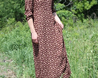 Vintage Floral Dress Long Sleeve Midi Empire Waist Boho Shift Maxi APRIL CORNELL Small / Medium