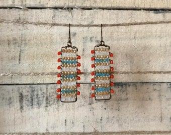 Tropical crystal bead rectangular drop earrings