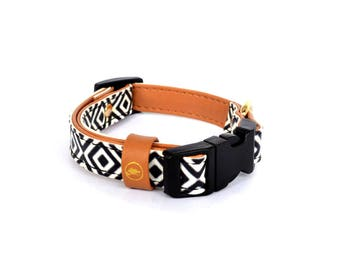 "Cat collar with a matching bracelet for the owner / The ""BW Squary"" Cat Collar"