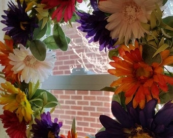 Bright, Cheery, Summer, Spring, Fall, Wreath with Gerber Daisies