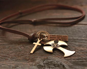 Cross Leather Necklace Mens Leather Necklace Retro Pendent Necklace Cross Pendant Necklace For Men Cross Necklace