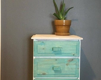 Shabby chic, furniture, aqua, white, chalk paint, modern vintage, jewelry box, nightstand, side table, small dresser, cottage chic, coastal