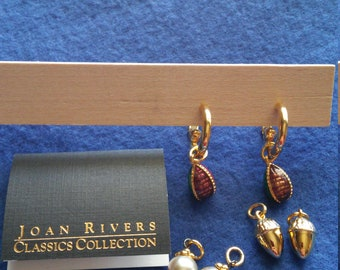 Joan Rivers Jewelry - Hoop Earrings with Charms -  Eggs. Acorn, Pearl - Clip On with box