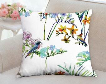 flowers pillow, birds pillow, cushion cover, bird cushion, pillow for couch, designer cushion, throw pillow, patio cushion, sofa pillow
