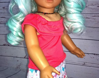 """Custom 10-11"""" Doll Wig Fits Most 18"""" Dolls, Blythe, 1/4 Sized Dolls and More """"Wintogreen"""" Heat Safe"""