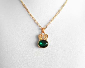Cute Tiny Bunny Crystal Necklace Pendant