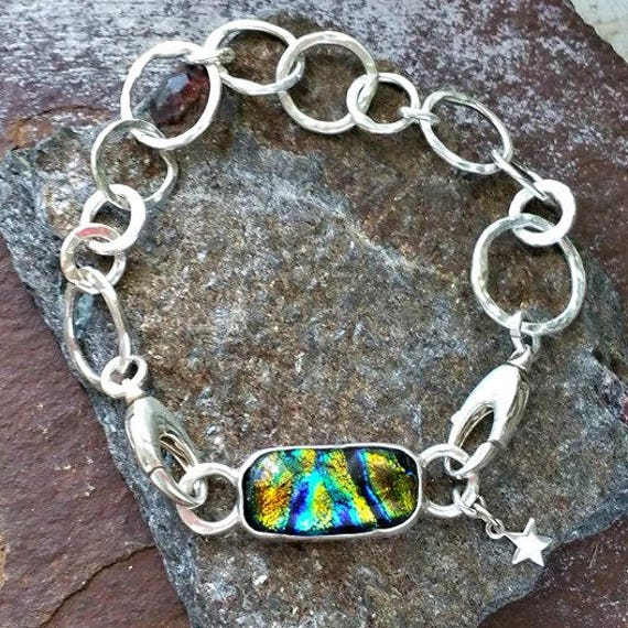 Memorial Blown Glass Single Link Bracelet in Sterling Silver