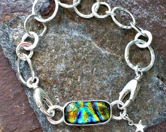 Memorial Blown Glass Single Link Bracelet in Sterling Silver
