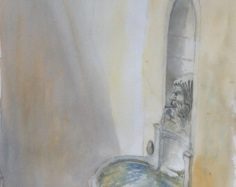Watercolor painting watercolor wasserfarbe Pernes Provence Vaucluse fountain fountain fontein aquarel painting art kunst Town Hall square