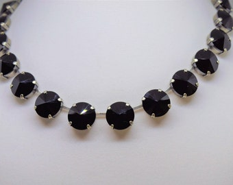 Swarovski Crystal Necklace - Jet Black 14mm