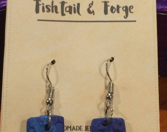 Sparkly Floral-Stamped Rectangular Polymer Clay Earrings