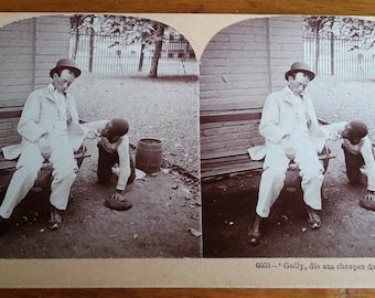 Antique Stereoview Card Humor Smoking Photo Keystone Stereo View Company 1897 Stereocard Stereograph Stereoscope Double Photo Collectibles