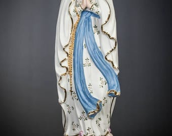 "17"" Our Lady of Lourdes Antique Bisque Porcelain Statue Immaculate Conception 3"