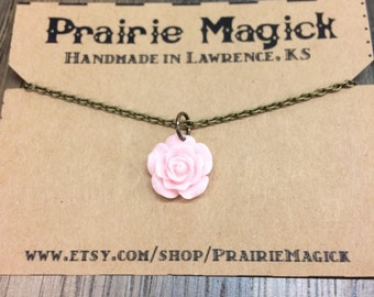 Pink Rose / Antique Gold Chain Choker
