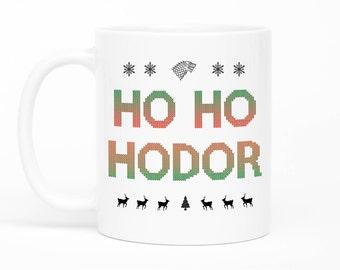 Game Of Thrones Coffee Mug, Hold The Door, Christmas Mug, Hodor Mug, Ho Ho Hodor, Festive Season Gift, Stocking Filler, Christmas Gift Idea