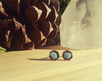 WINTER - Aquamarine Gemstone Earrings, Blue Crystal Studs, Petite Blue Gemstone Earrings, Healing Crystals, March Birthstone, Gifts Under 20