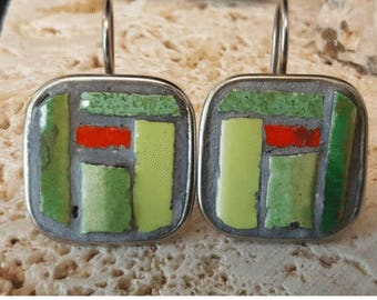 Green Denwar Mosaic Earrings