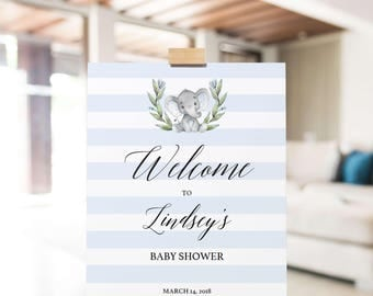Elephant Baby Shower Welcome Sign Boy, Welcome Sign Printable, Baby Sprinkle Sign, Blue Elephant Decor, Welcome to Baby Shower Sign PDF, LBE