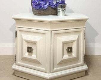 White Hexagon End Table Cabinet