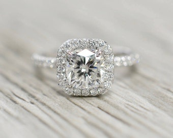 Cushion Brilliant in a Petite French Pavé Cushion Halo Polished Stem Engagement Ring in White