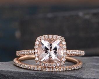 Morganite Engagement Ring Bridal Set Rose Gold Cushion Cut Ring Halo Diamond Eternity Wedding Band Anniversary Gift For Her Women