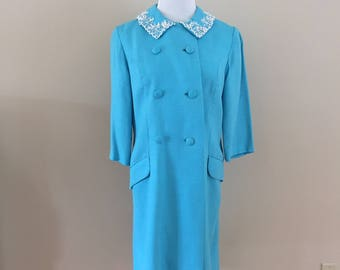 Early 1960s Vintage Turquoise Spring Coat/Beaded (matching dress sold separately)