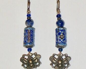 Earrings With Bronze Butterflies