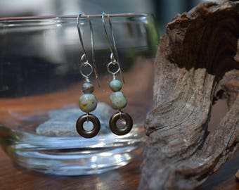 Unique green and brown toned dangle earrings, silver