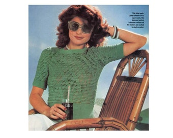 Crochet Pattern - 2 Openwork Tops in Diamond or Diagonal Patterns// Pullover Summer Short Sleeve Boat-Shaped or Square Necklines