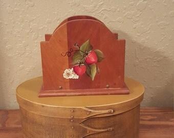 Vintage wooden strawberry napkin holder.  Retro strawberry napkin holder.