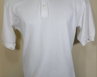 Yves Saint Laurent Polo Shirt with 3 button Size M, Embroidered YSL White Made in Italy